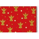 Cotton fabric christmas red glitter print angel